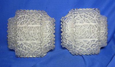 Pair Mid Century Ice Structure Wall Lamps Mirror Sconces #O/B