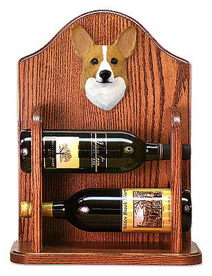 Welsh Corgi Pembroke Dog Wood Wine Rack Bottle Holder Figure Blonde - 2 Bottl...