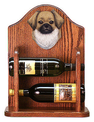 Tibetan Spaniel Dog Wood Wine Rack Bottle Holder Figure Fawn - 2 Bottles - Dark