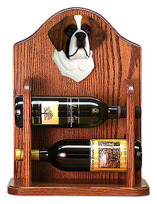 St. Bernard Dog Wood Wine Rack Bottle Holder Figure - 2 Bottles - Dark
