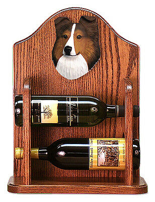 Sheltie Wood Dog Wood Wine Rack Bottle Holder Figure Sable - 2 Bottles - Dark