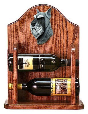Schnauzer Dog Wood Wine Rack Bottle Holder Figure Salt/Pepper - 2 Bottles - Dark