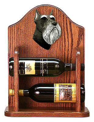 Schnauzer Dog Wood Wine Rack Bottle Holder Figure Blk/Silver - 2 Bottles - Dark