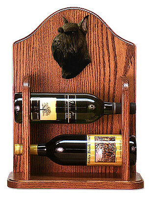 Schnauzer Dog Wood Wine Rack Bottle Holder Figure Blk - 2 Bottles - Dark