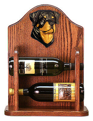 Rottweiler Dog Wood Wine Rack Bottle Holder Figure - 2 Bottles - Dark