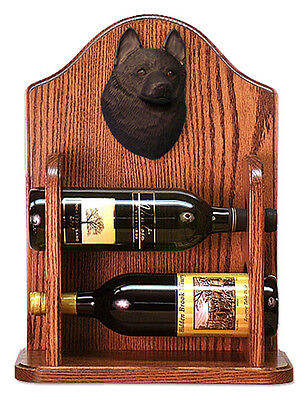 Schipperke Dog Wood Wine Rack Bottle Holder Figure - 2 Bottles - Dark