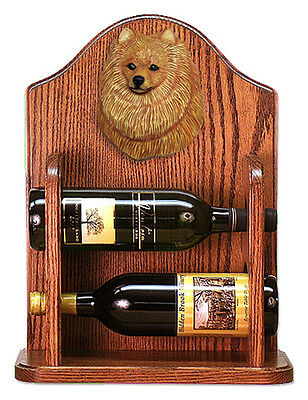 Pomeranian Dog Wood Wine Rack Bottle Holder Figure Orange - 2 Bottles - Dark