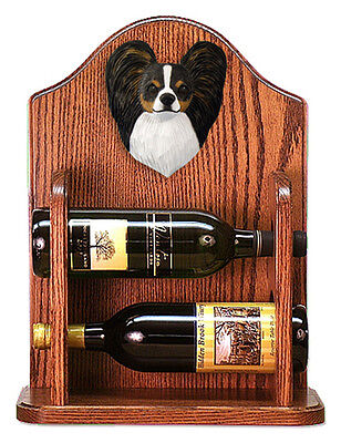 Papillon Dog Wood Wine Rack Bottle Holder Figure Tri - 2 Bottles - Dark