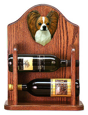Papillon Dog Wood Wine Rack Bottle Holder Figure Brn/Wht - 2 Bottles - Dark