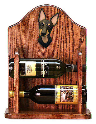 Manchester Terrier Dog Wood Wine Rack Bottle Holder Figure - 2 Bottles - Dark