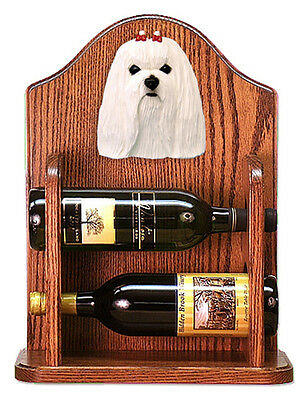 Maltese Dog Wood Wine Rack Bottle Holder Figure - 2 Bottles - Dark