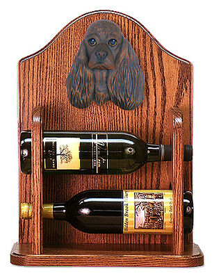 Cocker Spaniel Dog Wood Wine Rack Bottle Holder Figure Brn - 2 Bottles - Dark