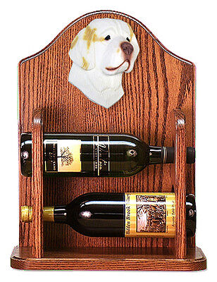Clumber Spaniel Dog Wood Wine Rack Bottle Holder Figure Lemon - 2 Bottles - Dark