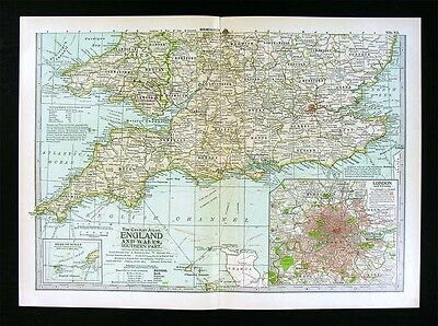 1902 Century Atlas Map South England Wales London Plan Stonehinge Battlefields