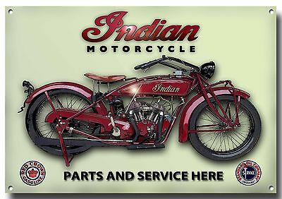 Indian Motorcycle Parts And Service Enamelled Metal Sign.garage Sign.enthusiast.