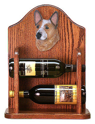 Australian Cattle Dog Wood Dog Wood Wine Rack Bottle Holder Figure Red - 2 Bo...