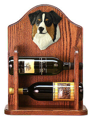 Australian Shepherd Dog Wood Wine Rack Bottle Holder Figure Blk Tri - 2 Bottl...