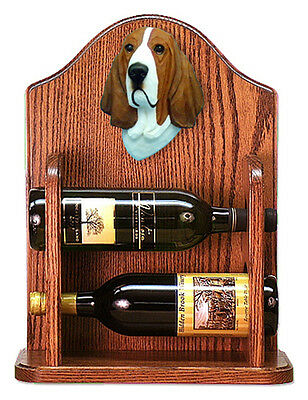 Basset Hound Dog Wood Wine Rack Bottle Holder Figure Red/Wht - 2 Bottles - Dark