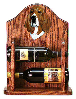 Basset Hound Dog Wood Wine Rack Bottle Holder Figure Tri - 2 Bottles - Dark
