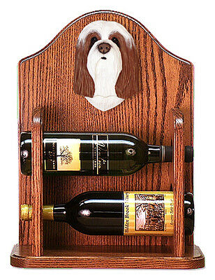 Bearded Collie Dog Wood Wine Rack Bottle Holder Figure Brn/Wht - 2 Bottles - ...
