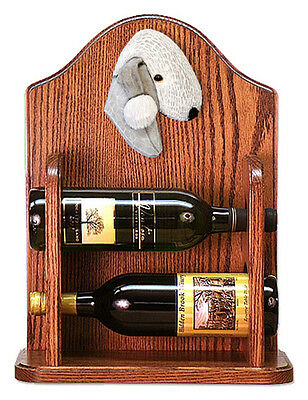 Bedlington Terrier Dog Wood Wine Rack Bottle Holder Figure Blu - 2 Bottles - ...