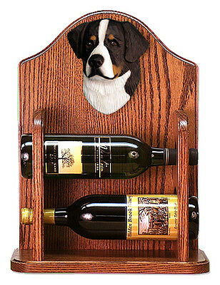 Bernese Mt. Dog Wood Dog Wood Wine Rack Bottle Holder Figure - 2 Bottles - Dark