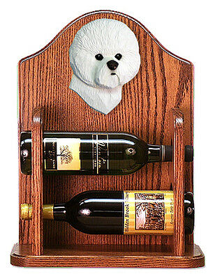Bichon Frise Dog Wood Wine Rack Bottle Holder Figure - 2 Bottles - Dark