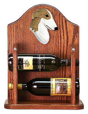 Borzoi Dog Wood Wine Rack Bottle Holder Figure Bi - 2 Bottles - Dark
