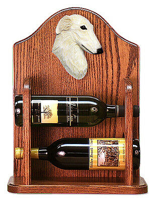 Borzoi Dog Wood Wine Rack Bottle Holder Figure Cream - 2 Bottles - Dark