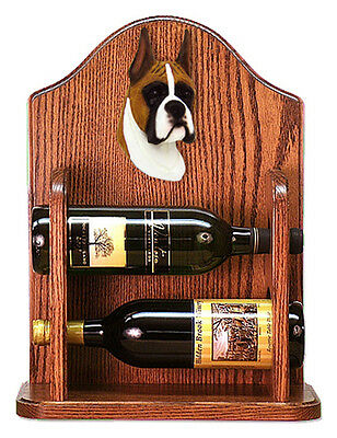 Boxer Dog Wood Wine Rack Bottle Holder Figure Fawn - 2 Bottles - Dark