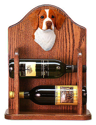Brittany Dog Wood Wine Rack Bottle Holder Figure Orange