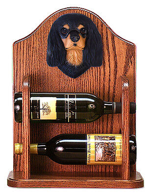 Cavalier Charles Dog Wood Wine Rack Bottle Holder Figure Blk/Tan - 2 Bottles ...