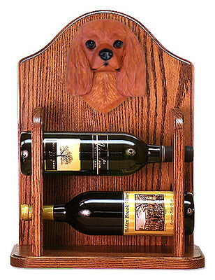 Cavalier Charles Dog Wood Wine Rack Bottle Holder Figure Ruby - 2 Bottles - Dark