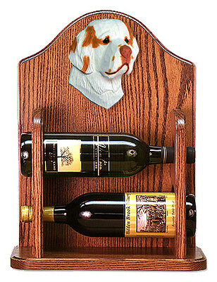 Clumber Spaniel Dog Wood Wine Rack Bottle Holder Figure Orange - 2 Bottles - ...
