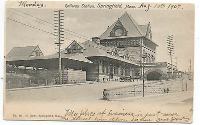 1904 Postcard of Railway Depot at Springfield MA