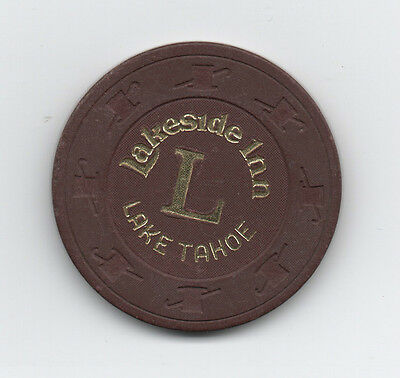 """Old Maroon Poker Chip from the Lakeside Inn Lake Tahoe """" L"""""""