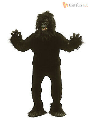Adult Furry Gorilla Ape Suit Monkey Fancy Dress Costume Mens King Kong Stag