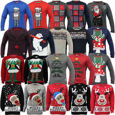 Mens Ladies Christmas Jumpers Womens Xmas Novelty 3D Knitted Santa Snowman Top