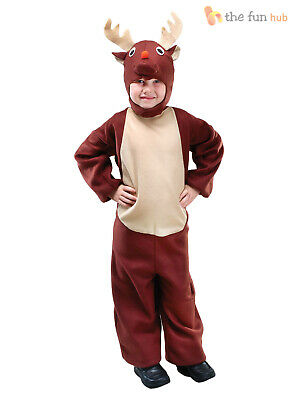 Kids Reindeer Rudolph Costume Nativity Christmas Fancy Dress Toddler Boys Outfit