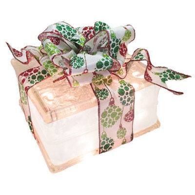 Christmas Holiday Decoration | Lighted Glass Block Holiday Ornament Ribbon