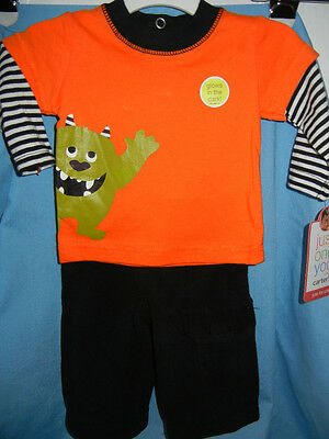New Halloween Just One You Boys Carters 2 Pc Glows Dark Monster Outfit Newborn