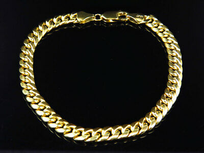 New Mens 10K Yellow Gold Handmade Hollow Miami Cuban Link Bracelet (6MM) 8""