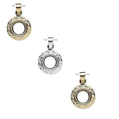 8818FN  Pendant Setting Bezel Mount Gold Silver Brass for 10mm Round Cab 4 Qty