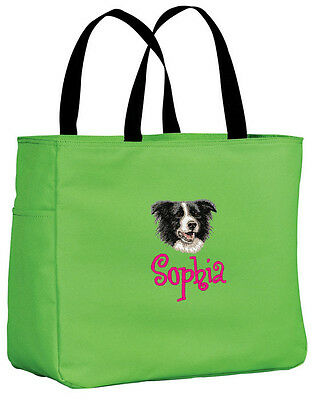 Border Collie embroidered essential tote bag 18 COLORS
