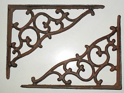 Beautiful cast iron VIctorian SWIRL wall shelf BRACKETS - PAIR