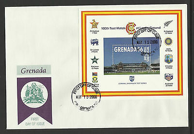 GRENADA 2000 LORD'S CRICKET 100th CENTENARY TEST MATCH Souv Sheet FDC