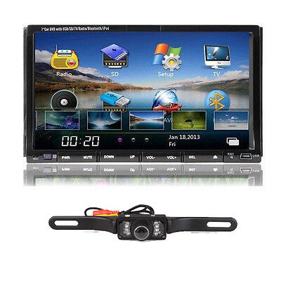 "Camera + 7""Double 2Din Car In Dash Stereo DVD Player Bluetooth IPOD TV RDS Radio"