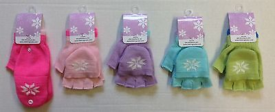 NWT Girl's Winter Knit Convertible Fingerless Gloves/Mittens NEW!