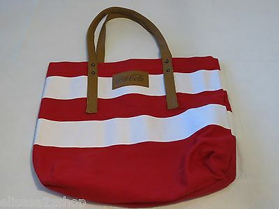 Coke Canvas Tote bag RARE Coca Cola red white brown travel collectible GUC