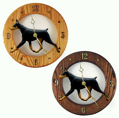 Doberman Wood Clock Wall Plaque Black/Tan